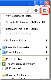 Firfox bookmarks menu expanded