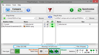 A compare operation shows two files in the source (left) that will be synced to the destination (right), replacing one file.