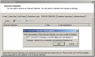 Tools-Account Settings-Internet Calendars