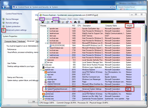 Viewing process integrity with Process Explorer