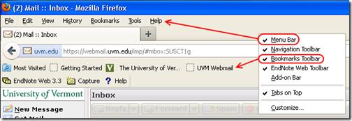 Firefox menu bar and bookmarks toolbar