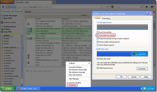 Windows autohide taskbar