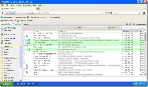 Webmail on a netbook - before