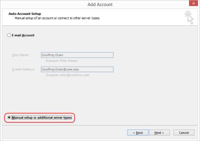 Outlook 2013 Setup - select manual setup