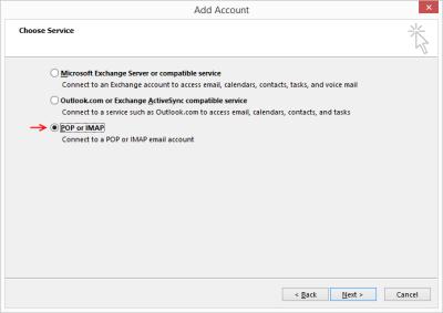 """Outlook 2013 Setup - Choose """"POP or IMAP"""""""