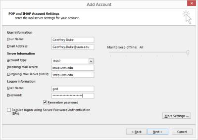 Outlook 2013 Setup - Basic email setting