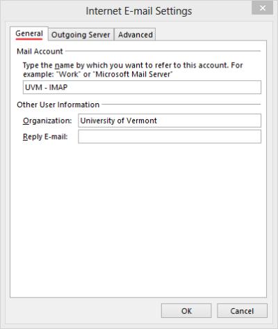 Outlook 2013 Setup - Internet Mail Settings - General tab