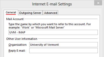 Outlook 2013 Setup - Internet Email Settings - General tab