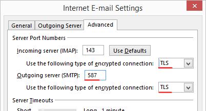Outlook 2013 Setup - Internet Email Settings - Advanced tab