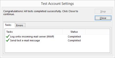 Outlook 2013 Setup - Testing account settings