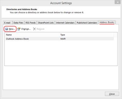 Outlook 2013 Account Settings - Address Books tab