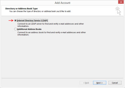 Outlook 2013 - Add [Address Book] Account