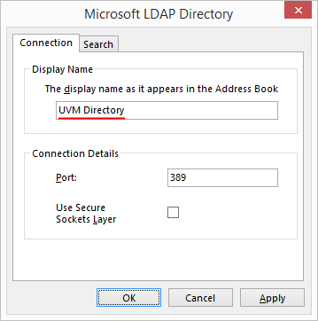 Outlook 2013 - LDAP Directory settings
