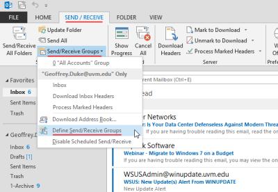 Outlook 2013 - Send/Receive ribbon