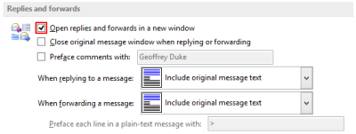 Outlook 2013 - Email options - Reply and Forward