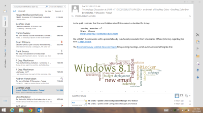 Outlook 2013 - tablet mode