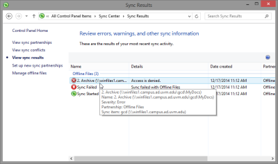 Sync result, with detail for an error.