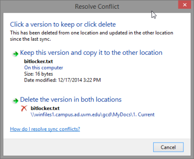 Windows provides information about the files in conflict and provides several appropriate options.