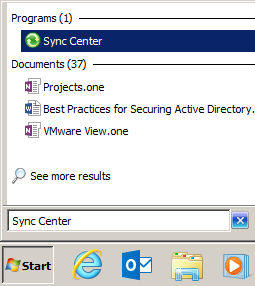 """Windows 7 Start search for """"sync center"""""""