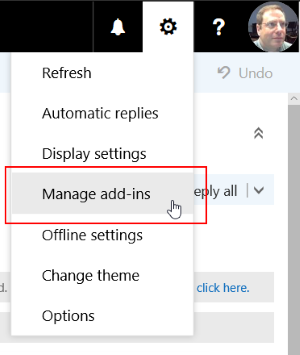 """Image of the options menu in OUtlook for web, with the """"manage add-ins"""" item highlighted."""