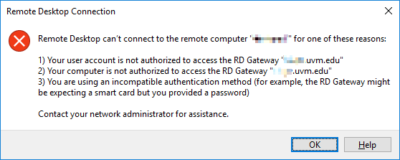 """Remote Desktop can't connect to the remote computer """"xxxxxxxx"""" for one of these reasons:"""