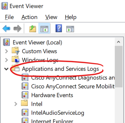 "Screen clip of the Window Event Viewer window with the ""Applications and Services Logs"" collection circled in red."