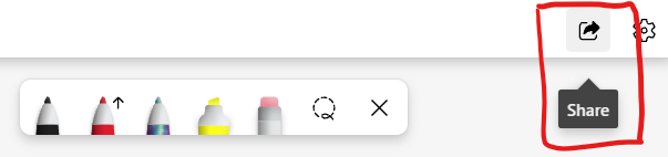 """Screenshot of Microsoft Whiteboard toolbar with the """"Share"""" button highlighted."""