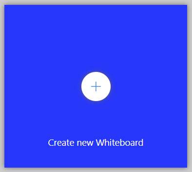 """Blue square in plus sign in center and white text """"Create new Whiteboard."""""""